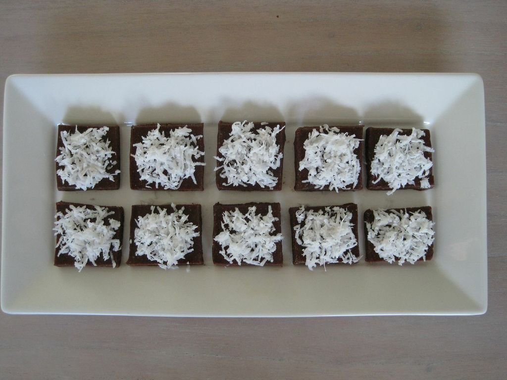 Raw Chocolate Brownies topped with shaved Coconut