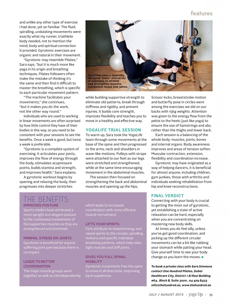 Gyrotonic at The Hundred Pilates Studio in Dubai. Yogalife Middle East Magazine Try & Test. Jul/August 2013 issue. (Page 2)