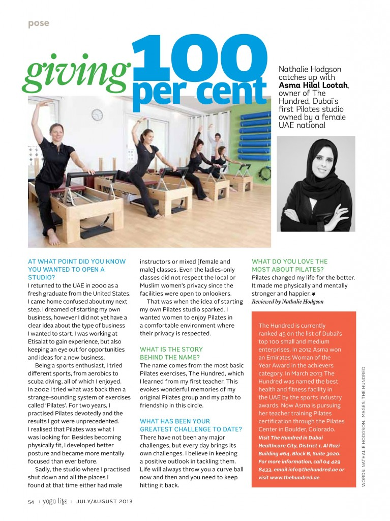 The Hundred Pilates Studio goes undercover with Yoga Life Middle East Magazine